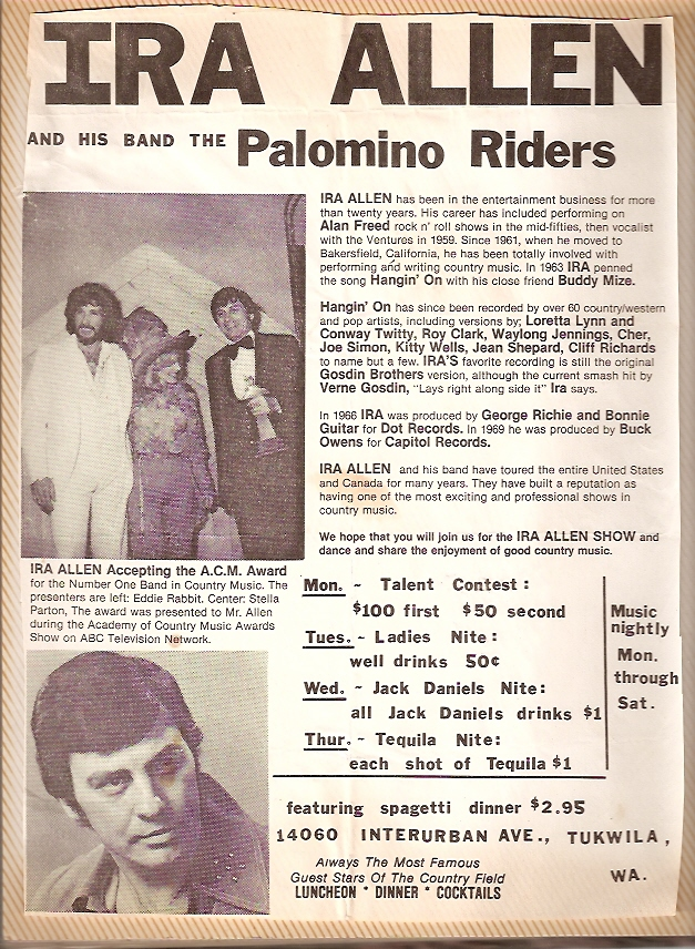 Ira & His Palomino Riders win ACM Award for Non-Touring Band - 1977