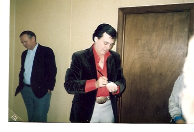 Ira & Roland Jordan backstage at Augusta, Maine Civic Center 1985