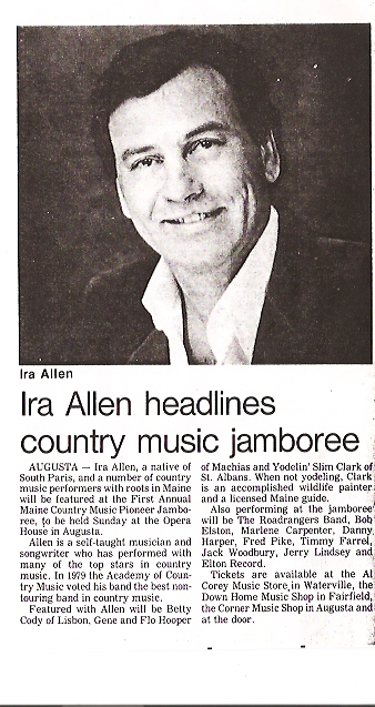 Ira headlining the first Maine Pioneer Show - still doing it 25 years later!