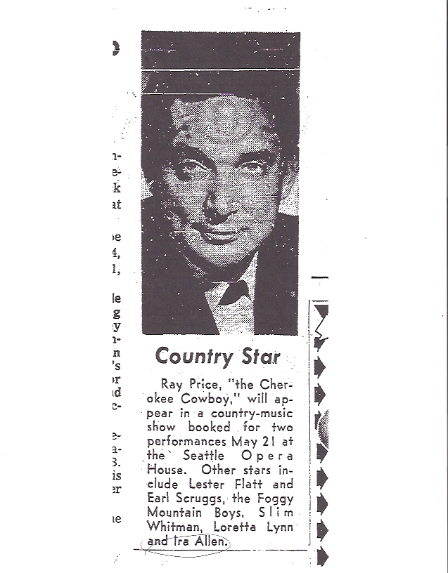 May 21, 1966 Ray Price, Loretta Lynn, Slim Whitman, Lester Flatt & Earl Scruggs, and  Ira perform together.