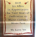 A Plaque from Maine Fans